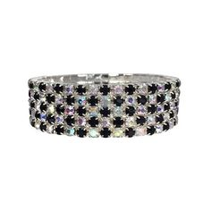 Wide Jet Black Ice Grey Rhinestone Flair Fan Statement Prom Pageant... (£23) ❤ liked on Polyvore featuring jewelry, bracelets, wide bangle bracelet, bracelets bangle, rhinestone bangle bracelet, grey jewelry and hinged bangle