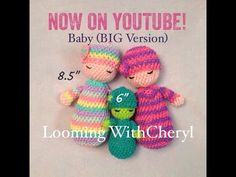 Rainbow Loom Baby Doll (small version) Loomigurumi - Hook Only Лумигуруми Knitting Loom Dolls, Loom Knitting Stitches, Knifty Knitter, Knitted Dolls, Spool Knitting, Rubber Band Crafts, Rubber Bands, Loom Patterns, Crochet Patterns