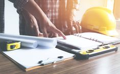 Architect Engineer Working Concept And Construction Tools Or Safety Equipment On Table. Stock Photo - Image of engineer, contractor: 118420998