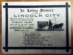 Lincoln City FC memorial postcard #LCFC