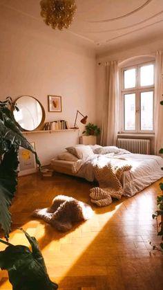 Room Design Bedroom, Room Ideas Bedroom, Home Decor Bedroom, Nature Bedroom, Bohemian Bedroom Decor, Warm Cozy Bedroom, Bedroom With Plants, Earthy Bedroom, Comfy Bedroom