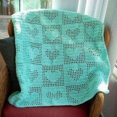 Pastel Hand-Knitting Crochet Heart Blanket Pattern - Lap Blanket, Baby Blanket - LoveItSoMuch.com