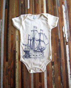 Organic Cotton Onesie - Screen Printed American Apparel Baby Onesie -  Vintage Ship Illustration- Eco ba069cf47