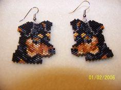 Beaded Mini Pinscher earrings by EagleplumeCreations on Etsy, $18.99