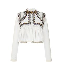 Isabel Marant Embroidered Cotton Twill Sachi Top (€975) ❤ liked on Polyvore featuring tops, blouses, shirts, blusa, long sleeve blouse, white crop top, white long sleeve shirt, long sleeve ruffle blouse and ruffle shirt