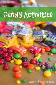 29 activities using CANDY including art, sensory play, science, educational play and more!  Great ways to use all that Halloween candy