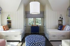 Bunk room with storage under the beds and my favorite Boston Library articulating lamps ~