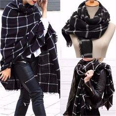UP TO 60% OFF US$9.41 Women Warm Large Tartan Check Plaid Scarf Shawl Blanket Wraps Pashmina Stole…