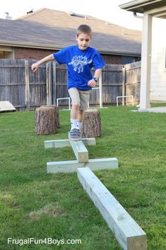 DIY American Ninja Warrior Backyard Obstacle Course – Frugal Fun For Boys and Girls – kids backyard Kids Ninja Warrior, America Ninja Warrior, Ninja Warrior Course, Backyard For Kids, Backyard Games, Diy For Kids, Outdoor Games, Backyard Playground, Backyard Obstacle Course