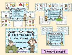 **NOUNS**This detective themed product contains three center games to help reinforce nouns. Students will sort the picture cards into person, place, thing or animal groups, search the room for noun cards, and identify the nouns in a given sentence. Kindergarten ,first and second