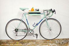 Bike holder from Mas Dolor-Vintage road bike Bianchi Indoor Bike Rack, Indoor Bike Storage, Bike Storage Rack, Bicycle Birthday Parties, Wall Mount Bike Rack, Bike Shelf, Bike Holder, Bmx Bicycle, Wooden Bicycle