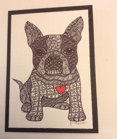 Zentangle Inspired Boston Terrier Note Card, Boston TerrierDog Print, Valentine's Day Card on Etsy, $6.00