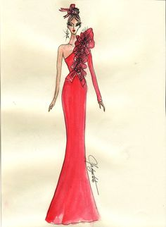 The Heart Truth Fashion Show Red Dress sketch by designer Nadya Toto, 2010.