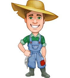 A farmer man vector character illustrated in typical clothes for farming: a work jumpsuit with a patch, a shirt with rolled sleeves, rubber boots, and a straw farm hat. With his super charming smile this handsome young farmer can absolutely handle your project and captivate your audience.
