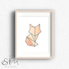 Geometric fox and soft orange watercolours printable by Eskaa Designs