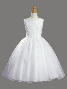 Lito Girl Communion Dress - Shantung tucked bodice with pearl accents. Organza sash tie back and organza tea length skirt. Frocks For Girls, Little Girl Dresses, Girls Dresses, Flower Girl Dresses, Dresses Dresses, Bridesmaid Dresses, Confirmation Dresses, Baptism Dress, Girls Communion Dresses