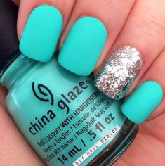 The polish is from China glaze! Turquoise Acrylic Nails, Blue Matte Nails, Blue Glitter Nails, Cute Acrylic Nails, Funky Nails, Trendy Nails, Shellac Nails, Diy Nails, China Glaze