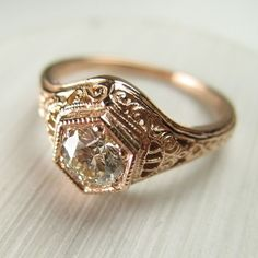 Filigree Antique Vintage Engagement Diamond Ring Rose Gold featuring polyvore, women's fashion, jewelry, rings, vintage jewelry, rose gold diamond ring, filigree ring, diamond jewelry and vintage filigree ring