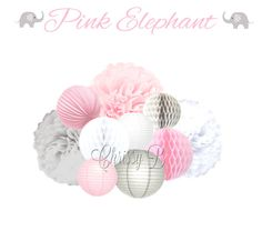 Pink and Gray 10-Piece Tissue Pom, Paper Lantern & Honeycomb Tissue Ball Set - PINK ELEPHANT Party Decorations,  - Light Pink, Dove Gray