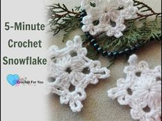 5 minute crochet Christmas snowflake, and how to stiffen crochet ornaments, Holiday decor, 2017 Crochet Christmas Decorations, Crochet Decoration, Crochet Ornaments, Holiday Crochet, Christmas Knitting, Crochet Gifts, Xmas Decorations, Crochet Snowflake Pattern, Crochet Snowflakes