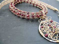 Viking knit Necklace Woven Gold Wire with Cranberry by janraven, $360.00
