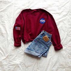 NASA Sweatshirt and High Waisted Shorts