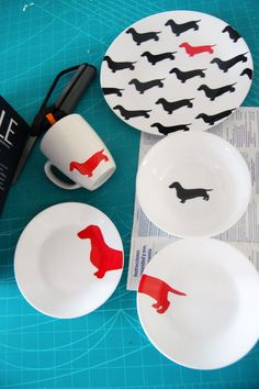 kate spade inspired dachshund plates diy step 2