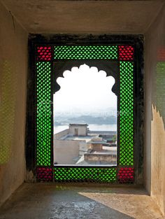 Open Stained Glass Window In City Palace, India