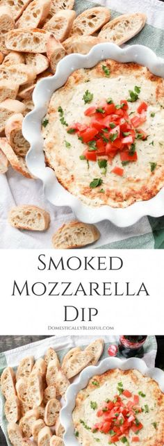Ad: This Smoked Mozzarella Dip is filled with creamy flavors & is the perfect warm appetizer for any party or family gathering! #ad #ServeWithACoke | cheese recipe | cheese dip | cheese fondue recipe | tomato | parmesan | Italian cheese dip | appetizer | cheese dip recipes | mozzarella recipes | mozzarella tomato | dip recipes | dips and appetizers | dips for parties | fondue ideas | baked cheese | hot cheese dip | warm cheese dip | Italian appetizer | white cheese dip | side dish...