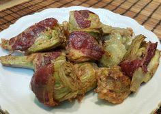 Alcachofas frescas rebozadas con jamón