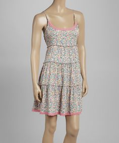 Look at this Just Funky Cream Floral Shift Dress on #zulily today!