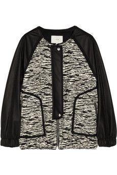 IRO Jett leather-sleeved tweed bomber jacket | NET-A-PORTER