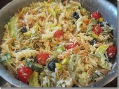 use whole wheat noodles and fat free dressing, fat free parmesan, and this is simply filling.