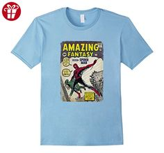 Men's Marvel Spider-Man Comic Book Cover Print Graphic T-Shirt Large Baby Blue (*Amazon Partner-Link)
