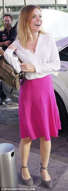 Picture of happiness: Geri stepped out in Sao Paulo, Brazil on Monday morning just hours b...
