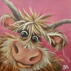Cow Paintings On Canvas, Happy Paintings, Animal Paintings, Canvas Art, Highland Cow Canvas, Highland Cow Art, Cartoon Drawings, Cute Drawings, Animal Drawings