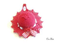 Crochet Pincushion Red Pincushion Handmade by CreArtebyPatty