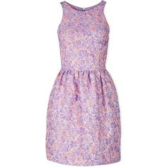 Markus Lupfer Erica Floral Jacquard Dress (59 BHD) ❤ liked on Polyvore featuring dresses, lilac, sleeveless dress, purple floral dress, fitted cocktail dresses, mini dress and purple cocktail dresses