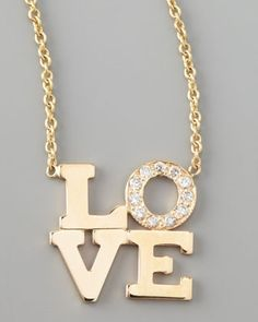 Pave Diamond Love Pendant Necklace by Zoe Chicco at Neiman Marcus.
