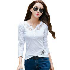 Blanco de Encaje Mujeres de la Camiseta Tops Camisas Femininas 2016 V-cuello camiseta Ocasional Camiseta de Manga Larga Para Mujer T-shirt Poleras De Mujer
