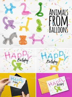 Animals Balloons by Anna on @creativemarket