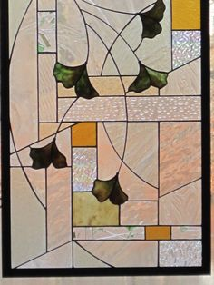 Arts and Crafts Style Stained Glass Gingko Leaf Panel. $415.00, via Etsy.