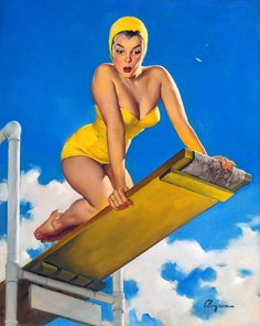 Vintage Pin Up Girls by Gil Elvgren – Limited Edition Large Metal Print Wall Art – High and Shy – Retro Style – Vintage Style Photo on Metal – Dibond Aluminum Composite Panel Modern Home Decor Frameless – Ready to hang Gil Elvgren, Pin Up Vintage, Retro Vintage, Vintage Style, Pinup Art, Retro Fashion, Vintage Fashion, Women's Fashion, Diving Board