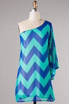 Chevron Print Draped Sleeve Dress by TrendyChicDesigns on Etsy, $48.00