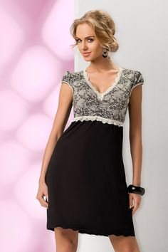 Donna Black & White Cap Sleeve Night Dress Ladies Nightie Sleepwear.