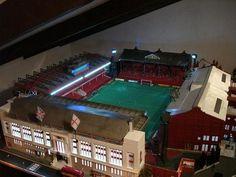 Impressive Highbury custom built and lit Subbuteo Stadium. Brilliant detail.