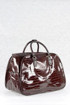 Τσάντα χειρός και ώμου, καφέ σκούρο, υφή λουστρίνι κροκό σε μικρό, μεσαίο και μεγάλο μέγεθος.  Ταξιδιού και επαγγελματικής χρήσης (για κομμώτριες, αισθητικούς κλπ) Bags, Fashion, Handbags, Moda, Fashion Styles, Fashion Illustrations, Bag, Totes, Hand Bags
