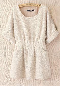 Beige Plain Round Neck Above Knee Cashmere Dress
