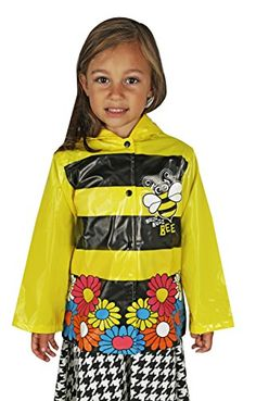 Little Girls Yellow Bumble Bee Sunflowers Raincoat  Size 6 *** More info could be found at the image url.