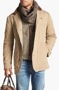 """Not all light jeans are """"dad jeans."""" Fit is key. Nice tonal coordination of the various elements of this look. The lighter tone of the upper pieces echoes the lighter tone of the denim. Note the quilting of the jacket and the texture of the sweater and scarf."""